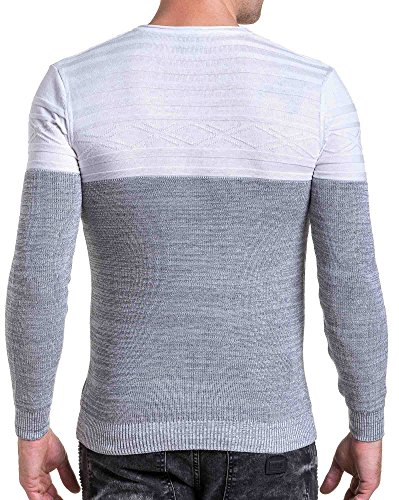 BLZ jeans - Herren Pullover feinmaschigen weiß und grau Rundhals Grau