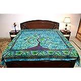 Sarjana Handicrafts indio King Size sábanas de algodón hoja de cama estampado Floral colcha cama, algodón, azul celeste, approx. 88 Inches (223 cm) x 83 Inches (211 cm)