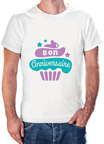 Bon Anniversaire Cupcake Design Short Sleeve Casual Men White T-Shirt - X-Large