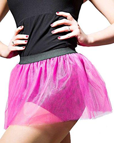 Teufel Accessoires Kostüm - Party-Teufel Tütü Röckchen Neon-Pink glänzend 4 lagig Tutu Tüllstoff Gr. S Accessoire Junggesellenabschied