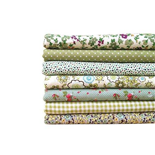 fgyhty 7pcs de la série Vert/Set Bundles Tissu imprimé Fleur Coton Tissu Patchwork Couture Tissu 50x50cm