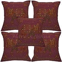 Hare Krishna Funda de Almohada de algodón Estilo Country Sofá Sofá Zari Bordado X-Mas