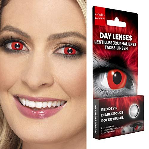 NET TOYS Farbige Kontaktlinsen Teufel | Rot | Aufregendes Unisex-Accessoire Effektlinsen Gothic | EIN Highlight für Halloween & Karneval