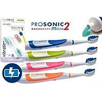 Visiomed Prosonic Micro-Juego de 2 cepillos de dientes Prosonic 2 electrónico (rosa y verde)-30 000 Vibraciones.