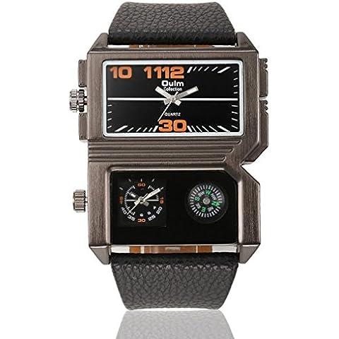 pkaty da uomo AP1forma Dual Time Zone in pelle PU analogico al quarzo orologio da polso con compass-black
