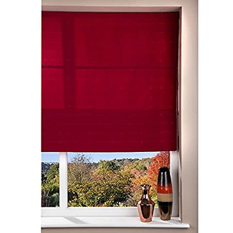 Fabric Roman Shade Window Blind - Patterned Cord - Red - 60 x 160cm