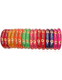 Fashionable & Glossy Multicolor Flower Pattern Glass Kada Set Studded With Multicolor Zircon For Women & Girls...