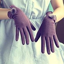 OME&QIUMEI Otoño E Invierno Señoras Calientes Guantes Pantalla Táctil Color Lila