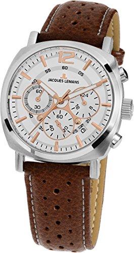JACQUES LEMANS Damenuhr Heerrenuhr Lugano  Lederarmband massiv Edelstahl  Chronograph 1-1931B