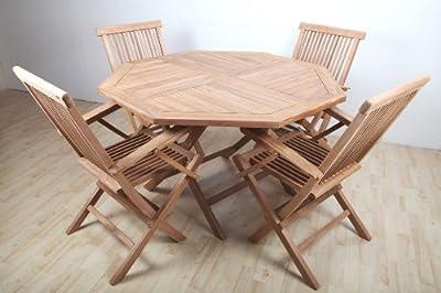 point-garden Gartenmöbelset Gartenmöbel Garten-Set Teakholz Teak Tisch + 4 Stühle
