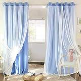 F.lashes 2er Set Prinzessin Transparent Gardine Gestrickt Vorhang Schlaufenschal Deko für Wohnzimmer Schlafzimmer