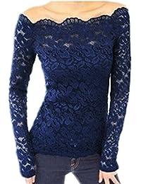 ZANZEA FemmeSexy Shirt Floralen Dentelle Épaule nueTop Blouse Manches longues Slim Shirt