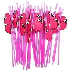 Hysagtek - Lot de 50 Pailles à cocktail souples avec flamant rose pour décoration de table d'anniversaires, mariage etc, Roses