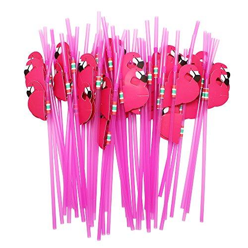 Pajitas flexibles Hysagtek con diseño de flamencos para fiesta de cumpleaños, boda o decoración, 50 unidades, color rosa