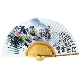 Hand Painted Folding Painting of Sailboats in East Port Korean Mulberry Rice White Paper Bamboo Art Handheld Decorative Fan