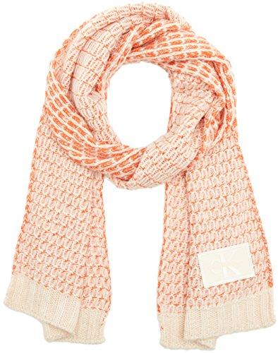 Calvin Klein Damen J Mary Heavy Knit Scarf Schal, Rosa (Soft Pink/Powder White/Wild Orange 908), One size Soft Knit Schal