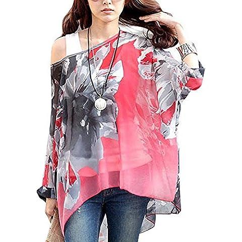 Donna Manica 3/4 Bohemian Chiffon Blouse Estate T Shirt Stampa (senza Vest)