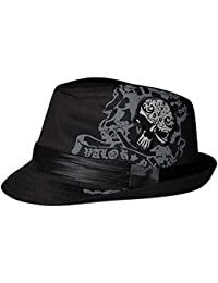 LOCOMO Skull Bone Skeleton Trilby Fedora Short Upturn Hat Cap FFH263WHT