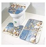 RedBeans Badematten-Set, 3-teilig, Memory-Schaum, Rutschfeste Pads, U-förmig, Duschvorleger, Komfort-Kontur Matten und Deckelbezug für Innenräume, Badezimmer, WC