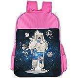 Space Astronauts Read Newspapers Kids School Shoulder Backpack Bag Children Bookbag - B074GW65DP