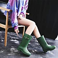 FDDSSYX Rainboots For Women,Womens Wellies,Waterproof Rain Shoes Ladies Green Fashion Retro Short Tube Wellington Rain Boots Music Festivals Water Boots Adult Outdoor Non-Slip Rainboots