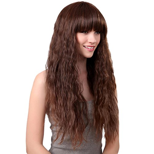 Gazechimp Perruque Bresilienne pour Femmes Longue et Ondulée Naturelle Peluches Brun en Cheveux Synthétique pour Fêtes Masquerade Halloween -- 24 Pouces