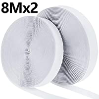 Faburo 8M Self Adhesive Hook and Loop Strip Tape Set, Self Adhesive Sticky Tape, Double Sided Sticky Tape, Sticky Back Fastening Tape