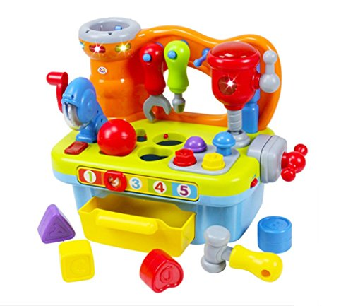 Kunststoff-Werkbank mit Werkzeug-Set für Kinder ab 18Monaten, für die frühe Bildung von Jungen und Mädchen - Werkzeuge F