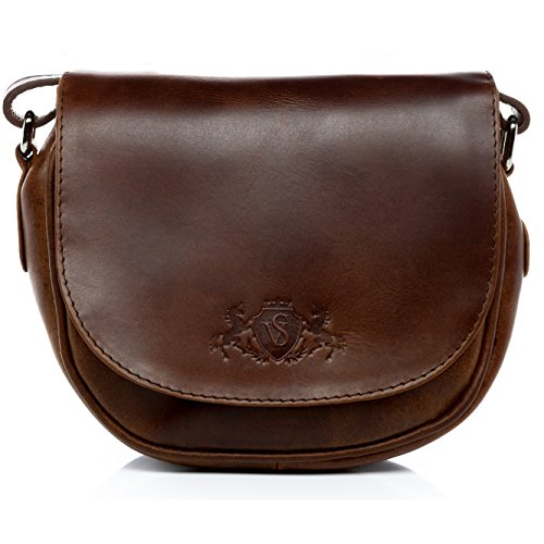 - 51zZzby6SoL - SID & VAIN® small shoulder bag – woman handbag BRIGHTON Vintage-Look | hobo cross-body bag women´s bag brown-cognac leather | PREMIUM-QUALITY