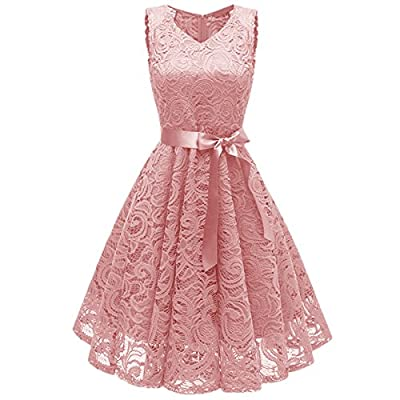KYEYGWO Vintage Lace Dress for Woman, High Waist Cocktail Party Evening Swing Dresses
