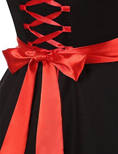 Dressystar Vintage Tupfen Retro Cocktail Abschlussball Kleider 50er 60er Rockabilly Neckholder Schwarz Mit Rot