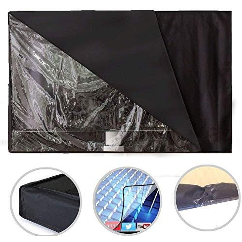 AUTOECHO Outdoor-TV-Abdeckung mit 22-65 Zoll große Schwarze transparente Folie Sichtbare Wasserdichte TV-Abdeckung und staubdichtes Material Umweltfreundliche PVC-Oxford-Tuch Durable Cover für TV - Tv-ständer Terrasse