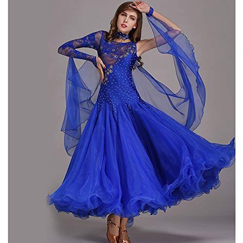 Frauen Latin Dance Kostüme Bauchtanz Rock Blau Handgefertigte Pailletten Ballroom Dancing Kostüme Full Rock Hemden Moderne Mode 2018 XL 2XL,L