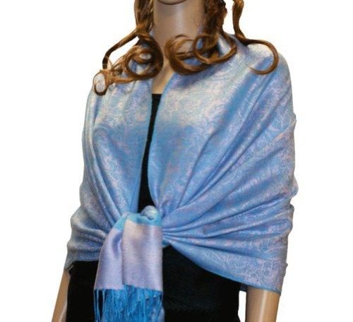 Fabuleux, très grand et doux foulard en viscose à motif Paisley. Produit offert par NYFASHION101. Bleu/Lilas 38