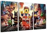 the lego movie 3-teilig auf Leinwand- Gesamtformat: 120x80 cm fertig gerahmte Kunstdruckbilder als Wandbild - Billiger als Ölbild oder Gemälde - KEIN Poster oder Plakat
