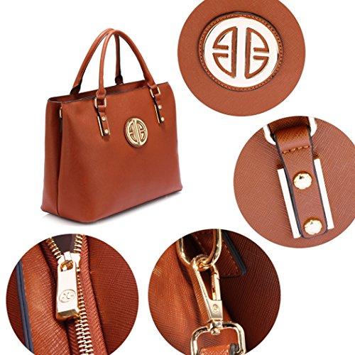 LeahWard Große Tote Taschen für Frauen Schöne Kunstleder-Umhängetasche Handtaschen für Schulbüro-Feiertag 349 (Braun Tragetasche) Braun Handtasche