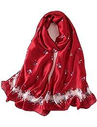 Foulard Femme Soie Polyester Écharpe Tissu Satiné Doux Art à la Mode Etole  Châle en c5e99926071