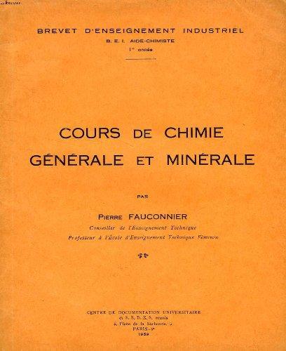 COURS DE CHIMIE GENERALE ET MINERALE