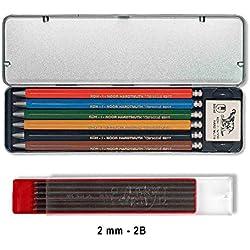 Koh-I-Noor VERSATIL 5217 - Lápices mecánicos incluidos 1 borrador en caja de metal, diferentes colores - 6 piezas y minas de grafito 2mm 2B (12 piezas)