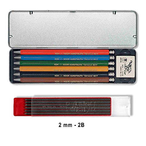 4a262ea6c Koh-I-Noor VERSATIL 5217 - Lápices mecánicos incluidos 1 borrador en caja de