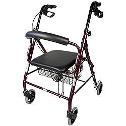 Andador para ancianos de 4 ruedas | Aluminio Ultraligero | Plegable | Con Frenos de Mano y Puños Ergonómicos | Incluye Cesta | Peso máximo soportado 120 kg | Modelo Escorial | Mobiclinic
