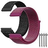 AFUNTA - Correa de Repuesto para Reloj Galaxy de 42 mm, 2 Unidades, 20 mm, Nailon, Ajustable, Compatible con Samsung Gear Sport / S2 Classic Smartwatch, Color Negro y Rojo Rosa