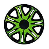 14 Zoll Radzierblenden NASCAR GREEN (Grün mit Schwarz). Radkappen passend für fast alle OPEL wie z.B. Corsa C