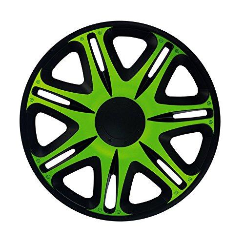 CM DESIGN 15 Zoll Radzierblenden NASCAR Green (Grün/Schwarz). Radkappen passend für Fast alle Ford wie z.B. Scorpio 2