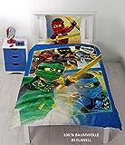Lego Ninjago Kinder Bettwäsche FLANELL / BIBER 2 tlg. 80x80 + 135x200 cm 100 % Baumwolle - deutsche Standard Größe - -