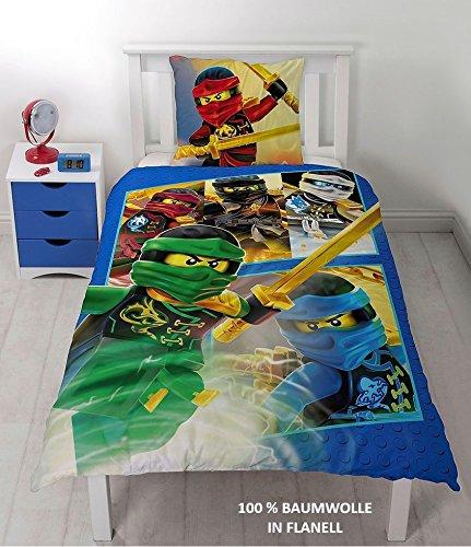 Lego Ninjago Kinder Bettwäsche FLANELL / BIBER 2 tlg. 80x80 + 135x200 cm 100 % Baumwolle - deutsche Standard Größe -
