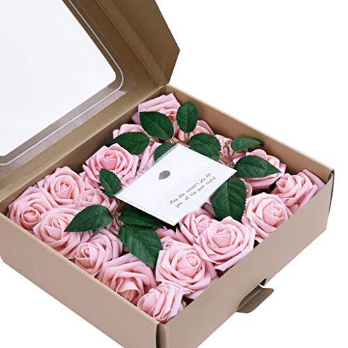 MEIbax Künstliche Blumen Coral Roses 50pcs Echt aussehende gefälschte Rosen für DIY Hochzeitssträuße Mittelstücke (Rosa)