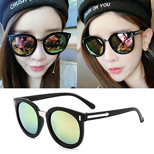 Sonnenbrillen Sonnenbrille Rund Frauenschatten Hat Überdimensionale Brille Klassische Designerin Sonnenbrille Mode Stil Black Frame Powder Film (Taschenklau)