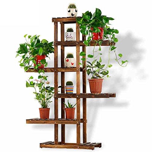 Support de fleur créatif Bois massif Bois de plancher à plusieurs étages Support de fleurs en bois Bois massif Bonsai Terrasse Balcon Salon Étagère intérieure à fleurs (Couleur : Marron)