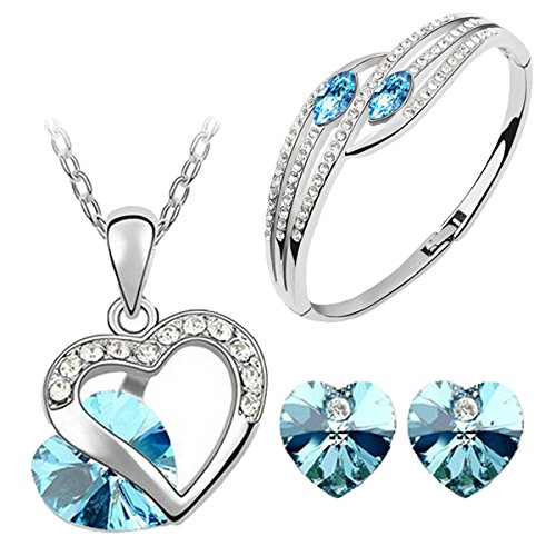 Cyan Heart Shape Austrian Crystal Rhodium plated Jewelry set and bracelet combo for Women